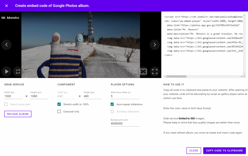 How do I embed aGoogle Photos album into a website? - Public album .org